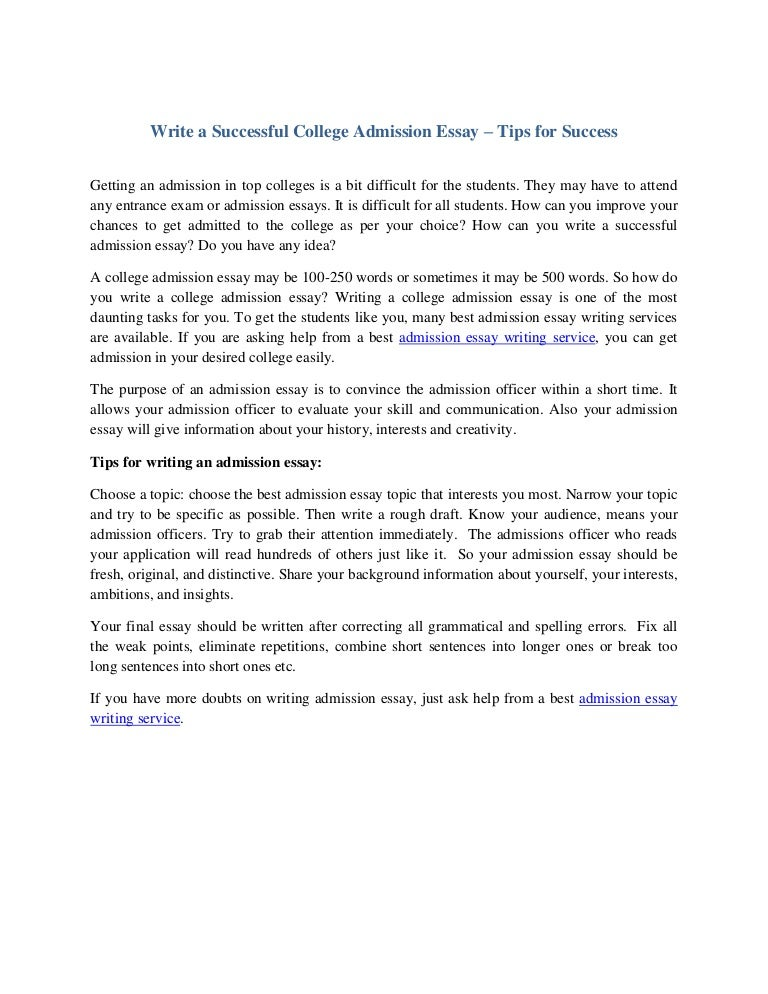 Sample College Admission Essays Example
