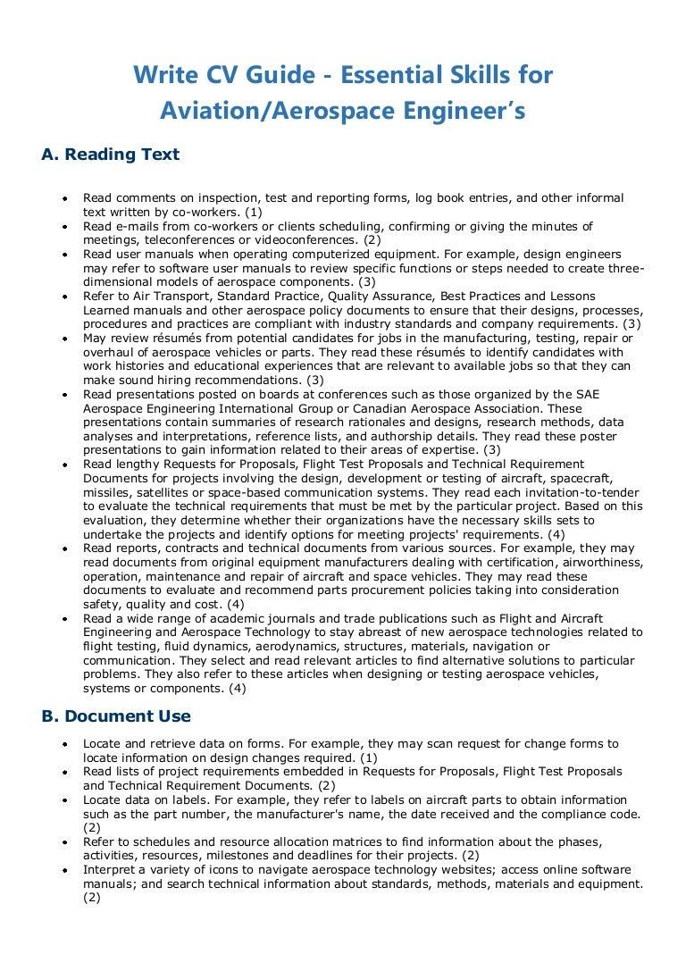 Write CV Guide - Essential Skills for Aviation/Aerospace Engineer's