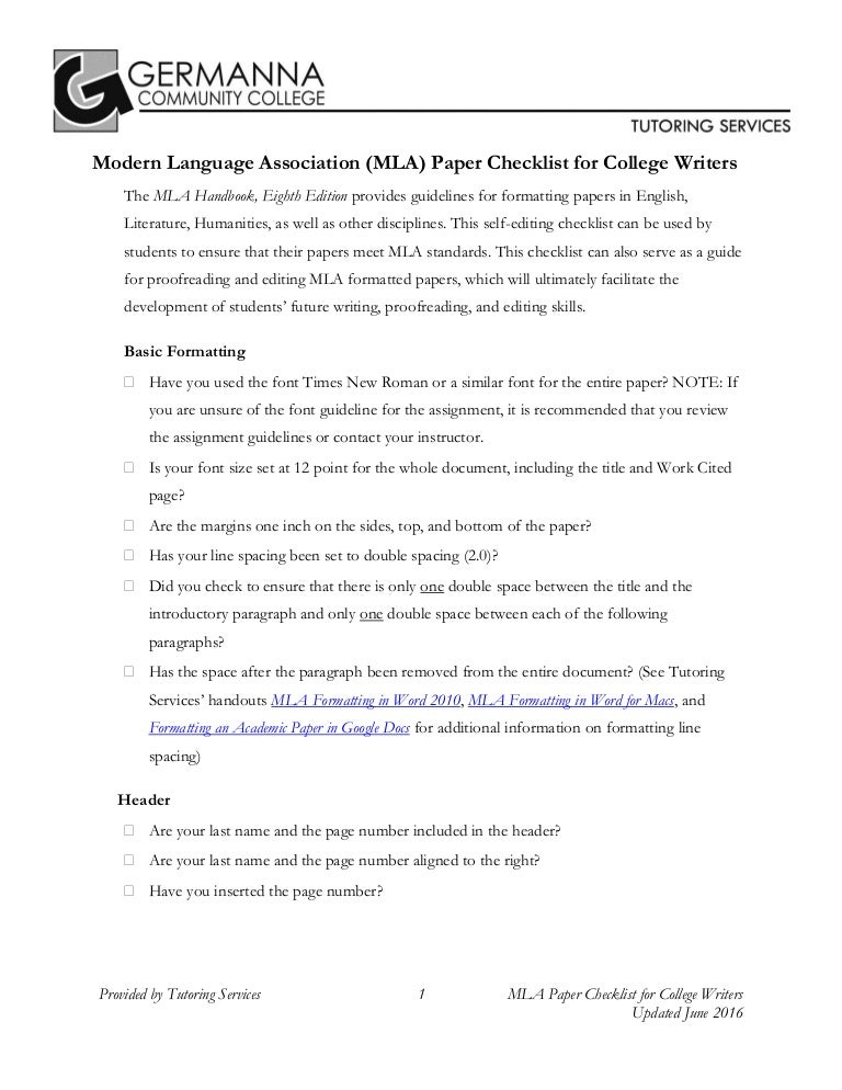 writers checklist for mla 8 format by germanna community college