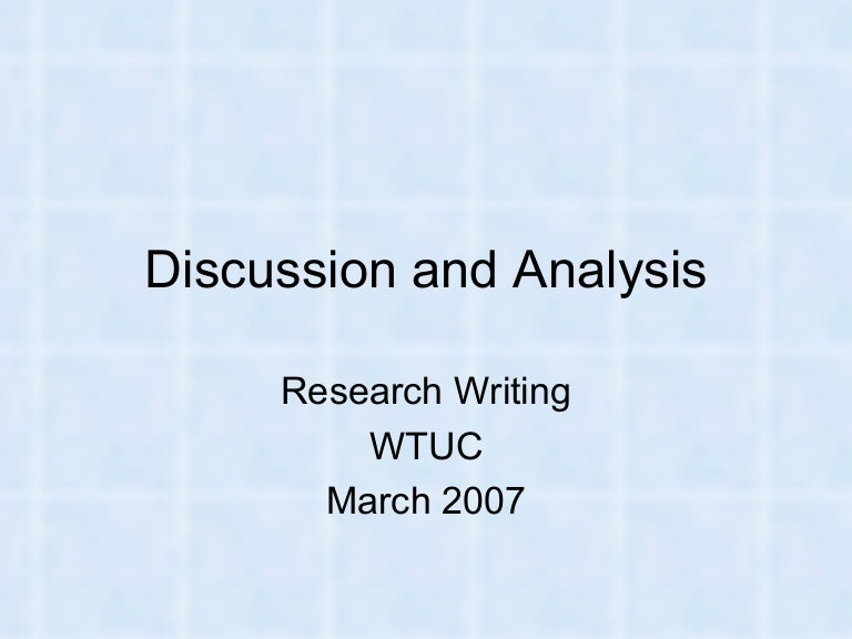 Writing The 'Discussion And Analysis'