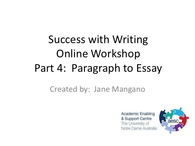 writing paragraph to essay