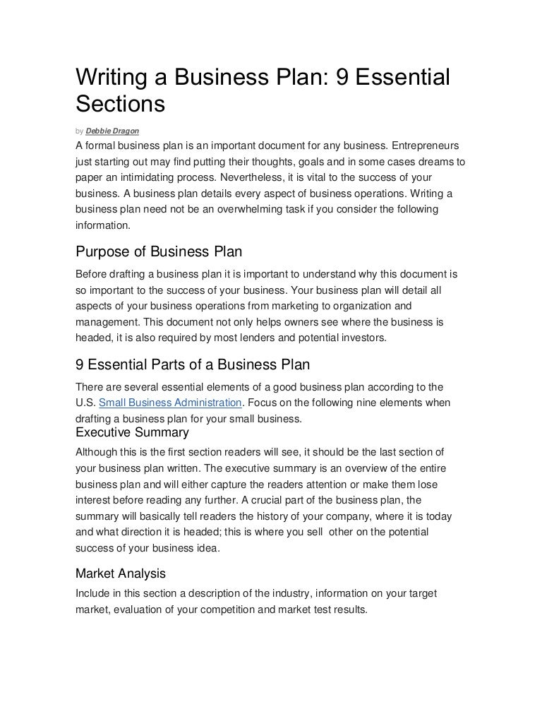 Writing A Business Plan By Debbie Dragon - Small business association business plan template