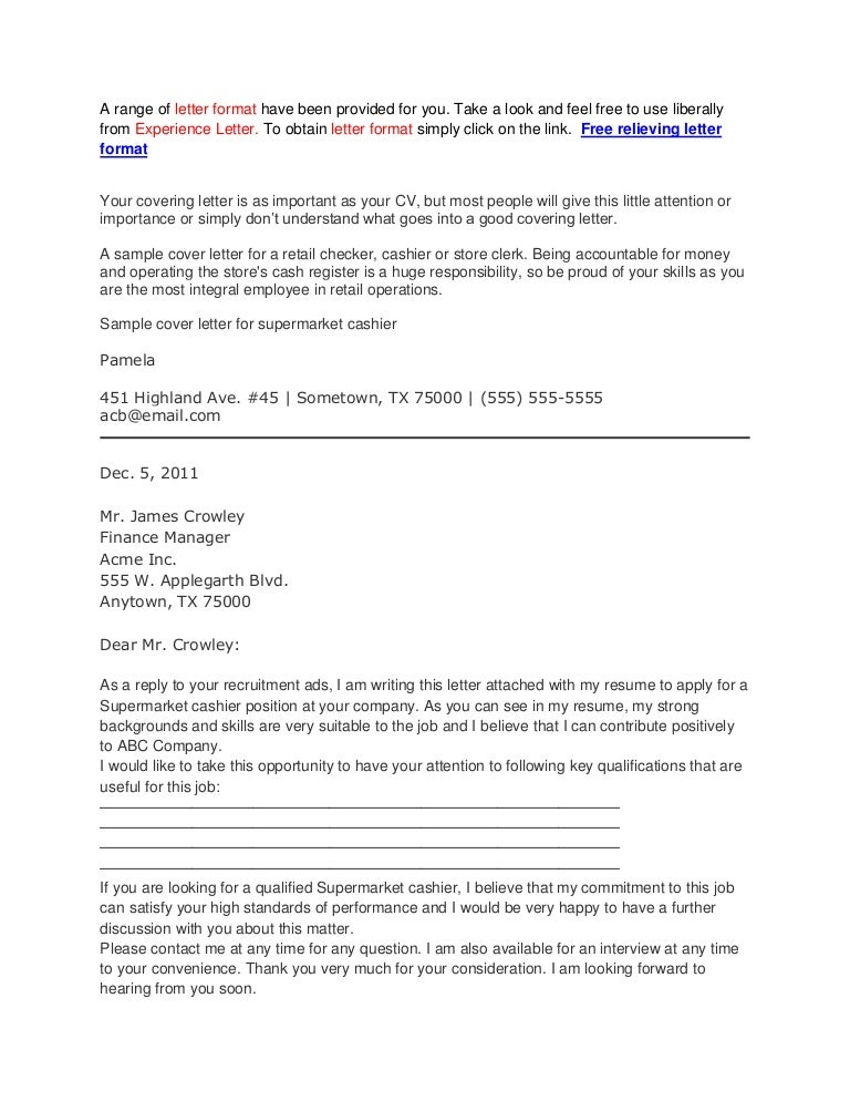 Obtain Lovely Sample Of Cover Letter For Cashier  Collections
