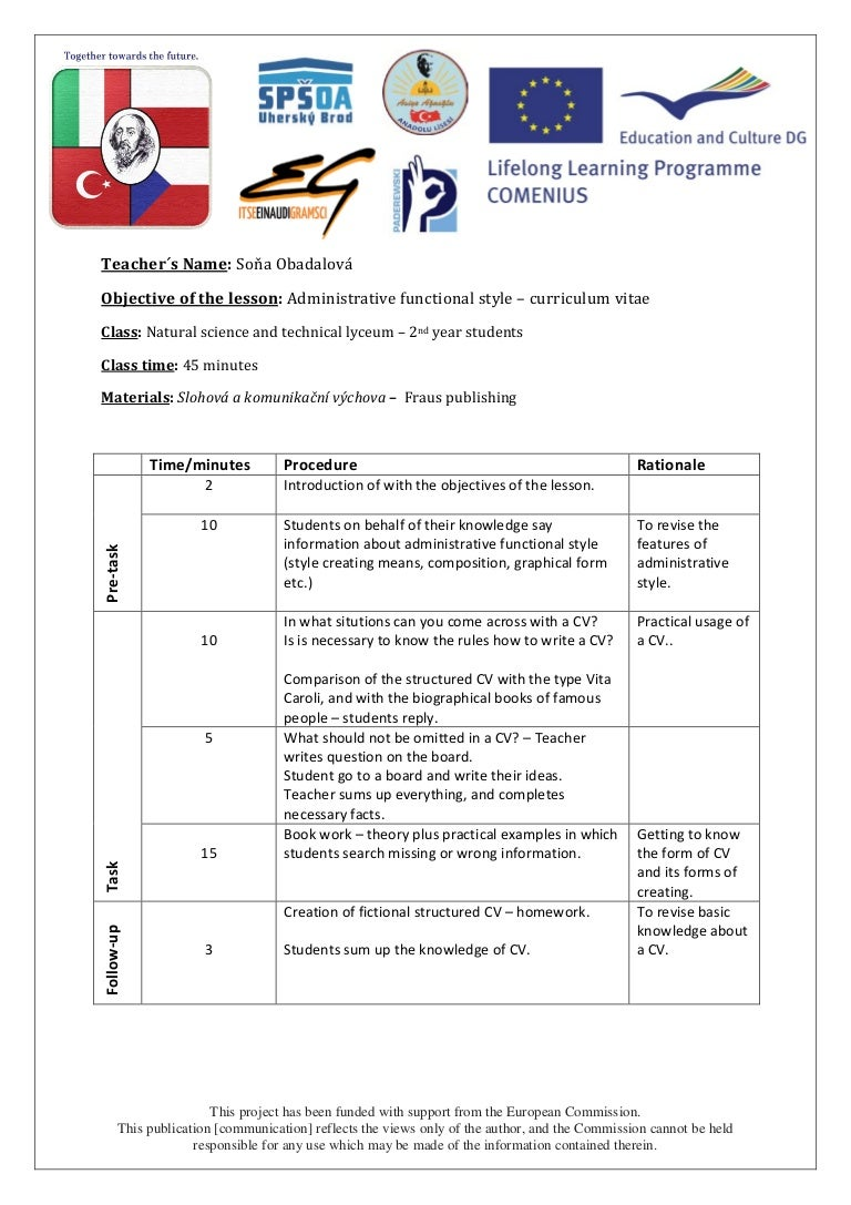 writing a cv czech language lesson plan
