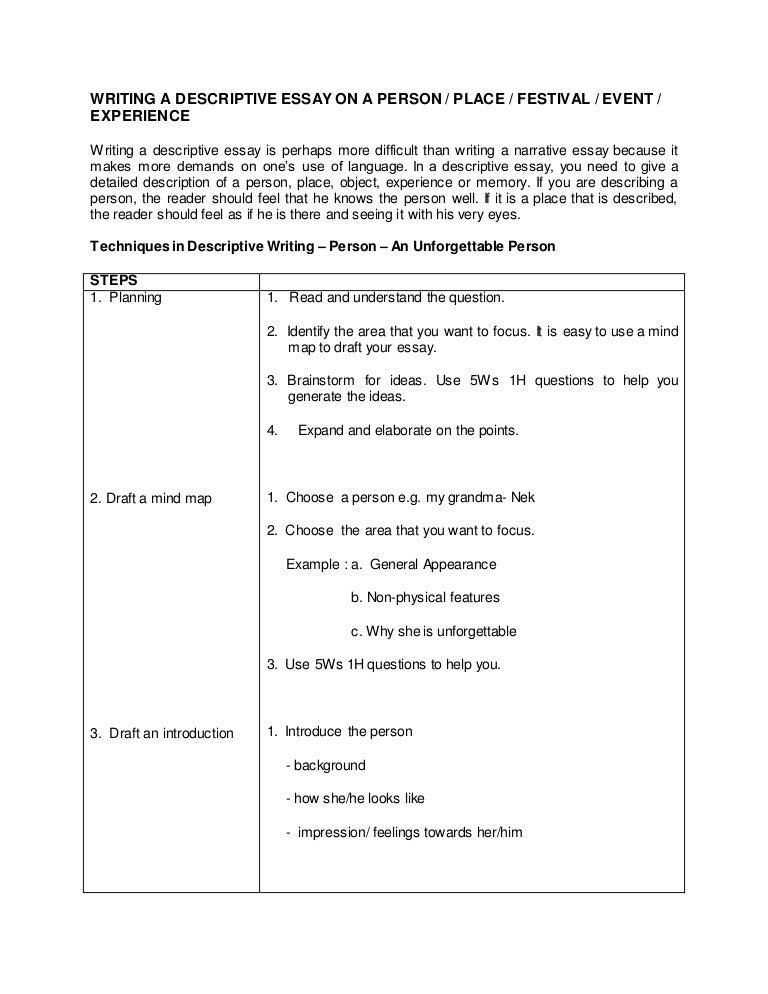 descriptive essay person examples