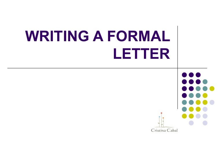 Writing a formal letter