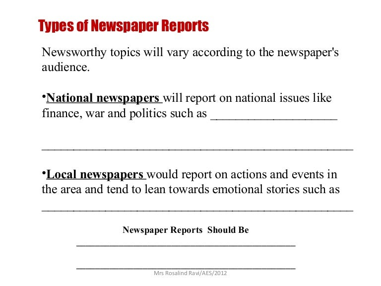 Writing A Newspaper Report
