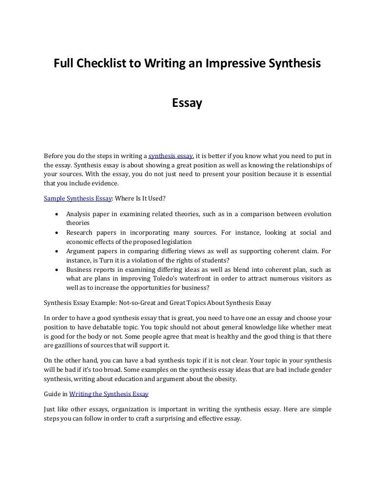 Synthesis essays