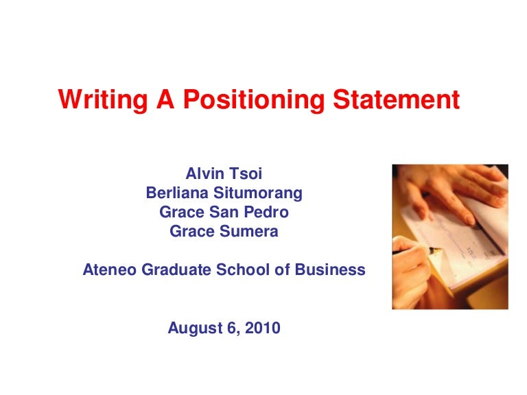 How to write a positioning concept