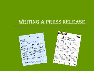 Writing press release