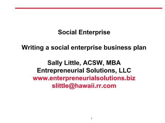 Writing a socialenterprise  business plan