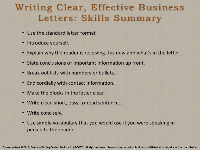 Writing Clear Effective Business Letters Skills Summary