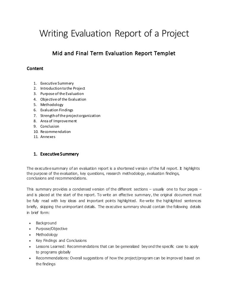 Writing Evaluation Report Of A Project