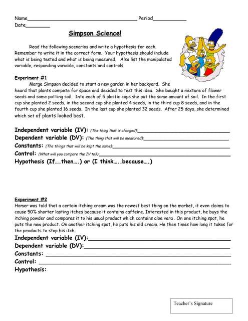simpsons scientific method worksheet answers