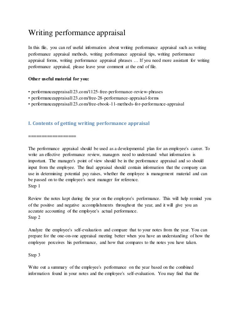 employee self assessment examples free