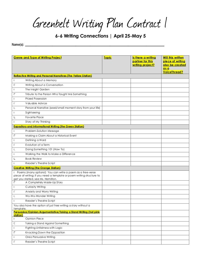 Greenbelt writing project grade 6 menu of writing ideas and projects pronofoot35fo Choice Image