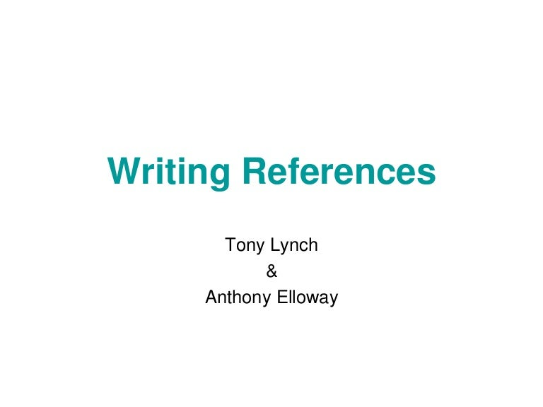 Writing references