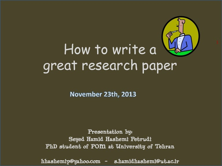 great research paper How to write a conclusion for a research paper the conclusion of a research paper needs to summarize the content and purpose of the paper without seeming too wooden or dry  do not spend a great amount of time or space restating your topic a good research paper will make the importance of your topic apparent, so you do not need to write an.