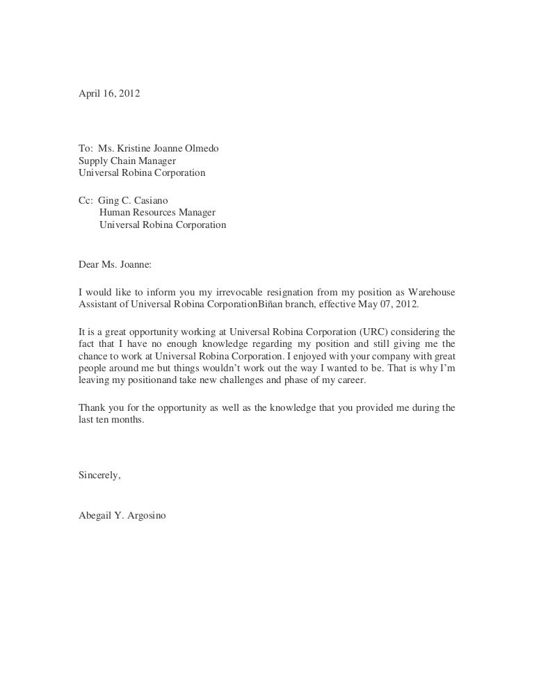 basic resignation letter sample of resignation letter 5761