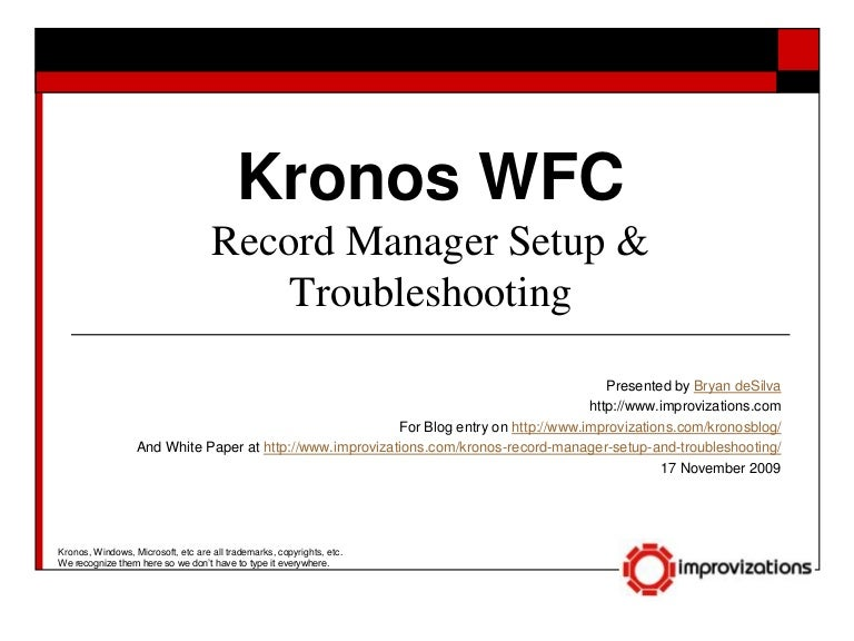 Kronos Record Manager Setup & Troubleshooting