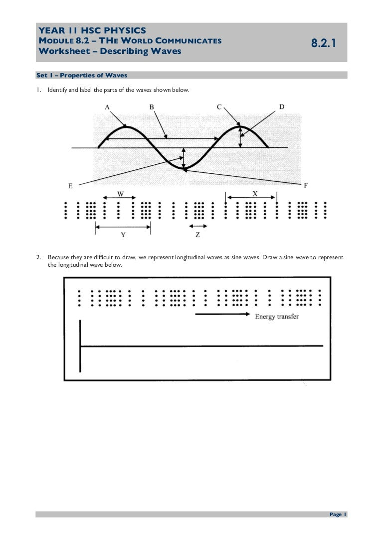 worksheet Properties Of Waves Worksheet ws 821 describing waves questions