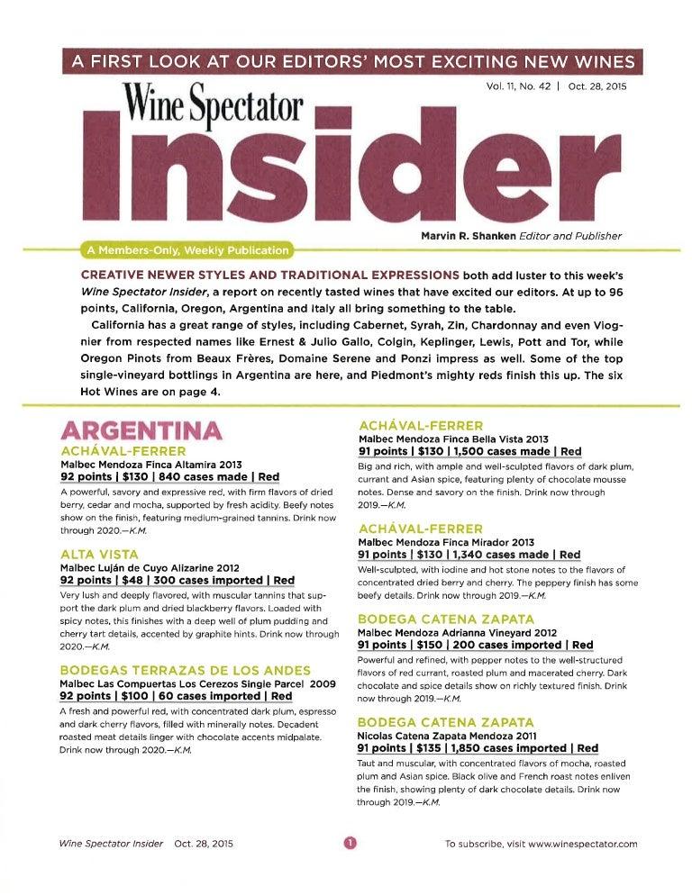 Wine Spectator Insider October 28 2015