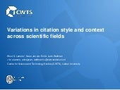 Variations in citation style and context across scientific fields
