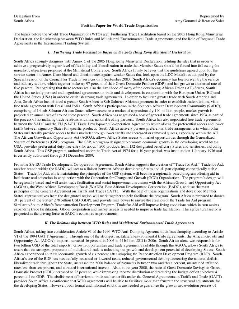 position paper for world trade organization nyc model un conference