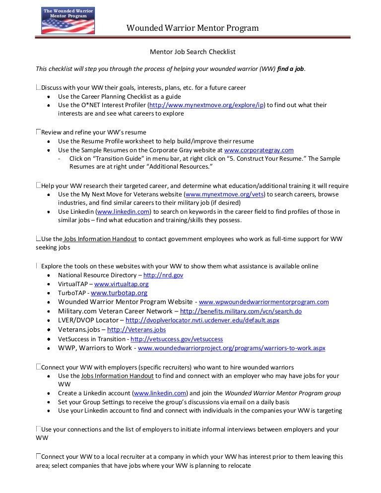 wwmp mentor job search checklist