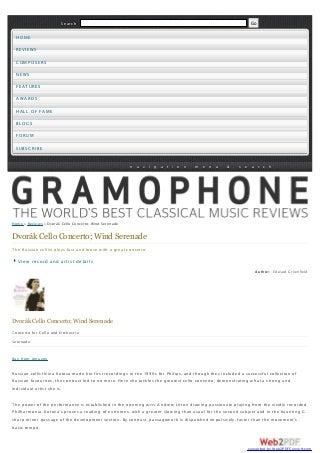 Nina Kotova: Gramophone UK Dvorak Concerto CD Release Review 2008