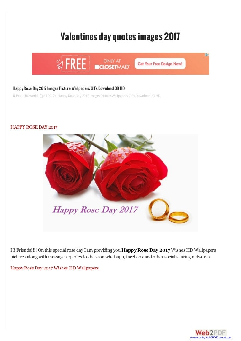 Happy Rose Day 2017 Images Picture Wallpapers Gifs Download 3d Hd