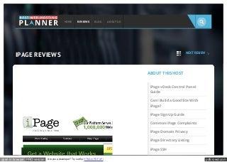 Www bestwebhostingplanners com_reviews_ipage_reviews