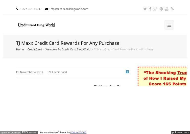 TJ Maxx Credit Card Rewards For Any Purchase