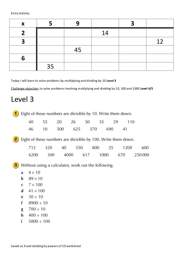 X and dividing by powers of 10 worksheet – Powers of 10 Worksheets