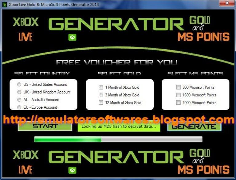 Xbox Live Gold & MicroSoft Points Generator 2014