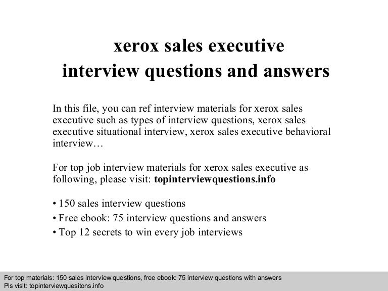 Xerox sales executive interview questions and answers toneelgroepblik Choice Image