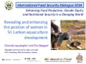 Gender and Livelihoods: Revealing and enhancing the position of women in Sri Lankan aquaculture development