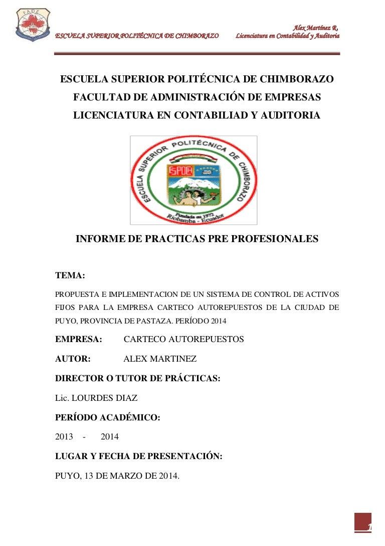 Informe practicas Pre Profesionales en Contabilidad