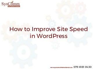 Site Speed in WordPress