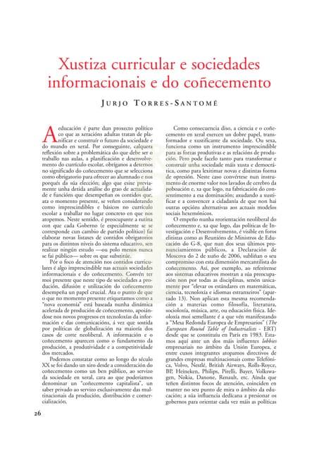 """""""Xustiza curricular e sociedades informacionais e do coñecimento"""" - Jurjo Torres Santomé - Grial, nº 177 (xaneiro-marzo) 2008, páxs. 26-35"""