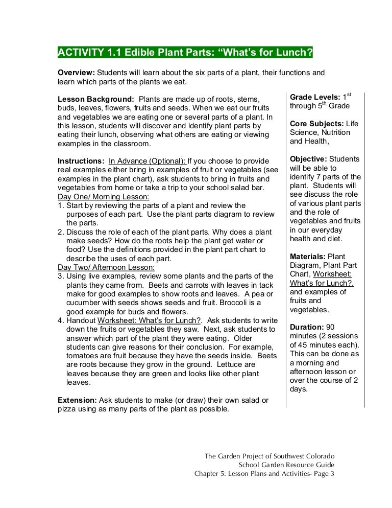 Colorado School Garden Lesson Plan A1: Edible Plant Parts: What