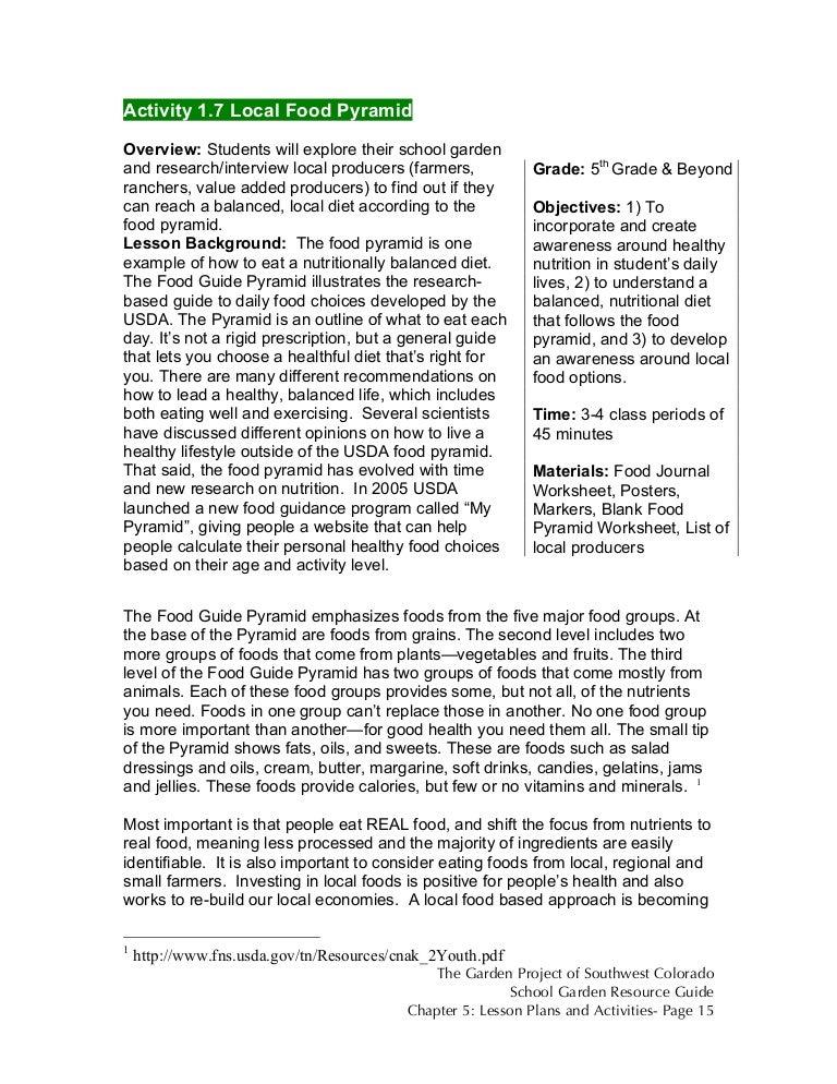 Colorado School Garden Lesson Plan A7 The Local Food Pyramid