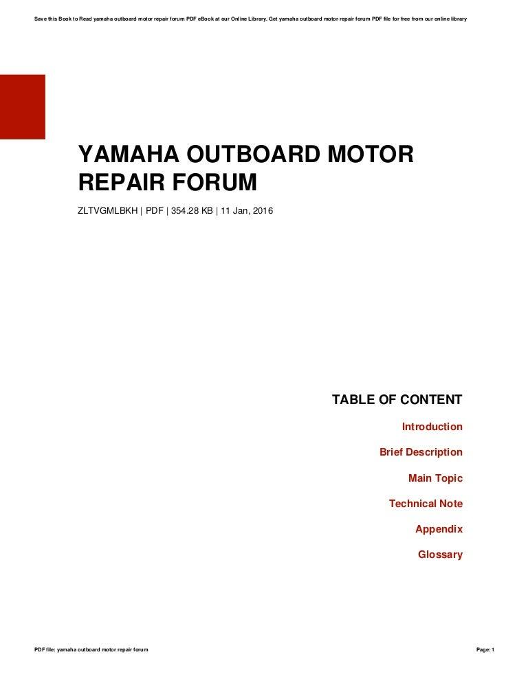 Yamaha outboard-motor-repair-forum