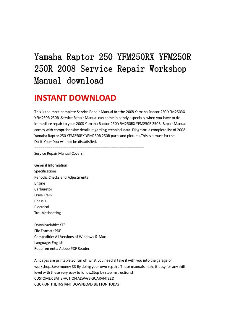 Yamaha raptor 250 yfm250 rx yfm250r 250r 2008 service repair workshop sciox Gallery