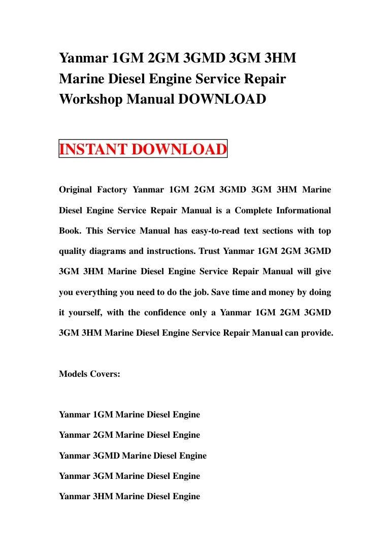 3GM30,3HM35 marine diesel engine service repair manual Yanmar 1GM10 2GM20