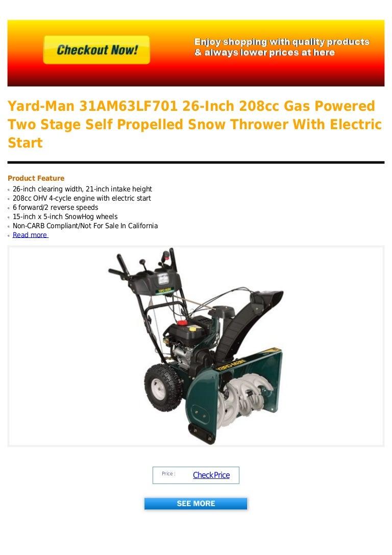Yard man 31 am63lf701 26-inch 208cc gas powered two stage
