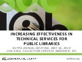 Increasing Effectiveness in Technical Services for Public Libraries