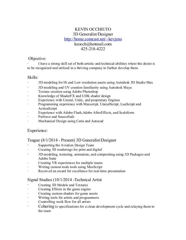 kevin occhiuto 3d generalist designer resume