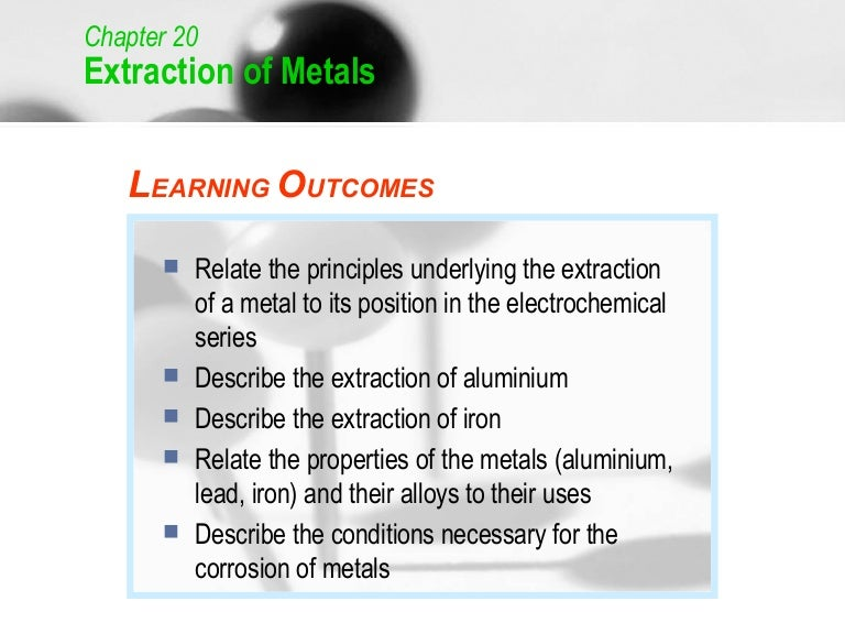 extraction of metals This is an introductory lesson to the extraction of metals topic key words and definitions are introduced with the opportunity to discuss using new terminology.