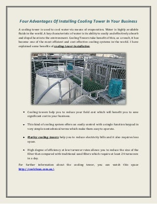 Advantages of installing cooling tower in your business